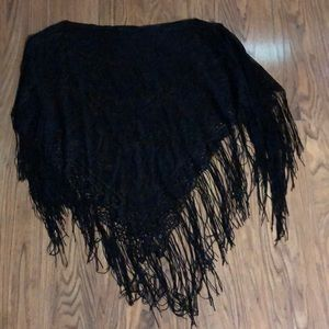 Cejon Accessories - Fringed Lace Poncho
